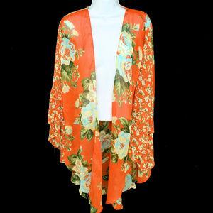 Cejon Floral Crinkle Chiffon Kimono Cover Up New